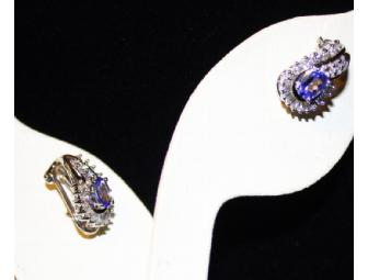 FJ BEAUTIFUL TANZANITE AND DIAMOND EARRINGS!