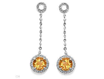 COUTURE DIAMOND CITRINE EARRINGS!  INDEPENDENT APPRAISAL $3,099.00 INCLUDED!