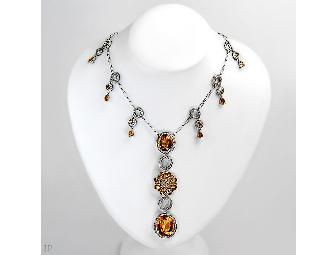 1 AMAZING COUTURE DIAMOND AND CITRINE NECKLACE! Independent Appraisal !  Value $11,390.00