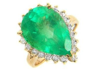 1! ABSOLUTELY HUGE COLUMBIAN  EMERALD DIAMOND RING!CERTIFIED LAB APPRAISAL $16,620.00 INCL