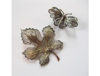 Two Silver Filigree Pins, Butterfly and Maple Leaf