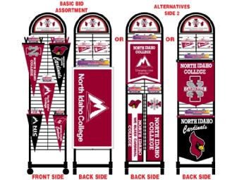 NEW Collegiate Pacific Roll-About Pennant Display Rack