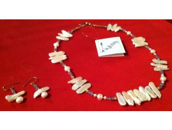 Biwa Pearl Necklace with Matching Earring