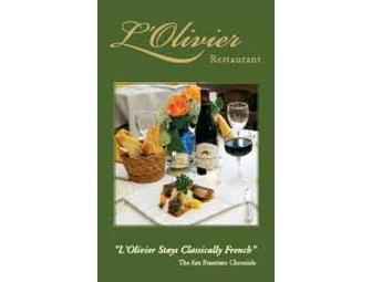 Romantic Dinner for 2 at L'Olivier's French Restaurant (San Francisco)