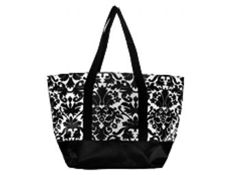 Mixed Bag Designs Medium Tote in Black & White Damask