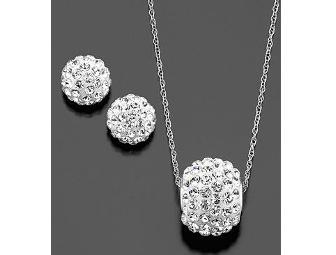 10K White Gold Necklace and Earring Set