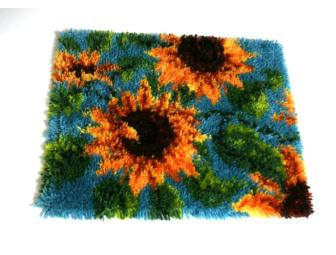 Sunflowers latch hook rug
