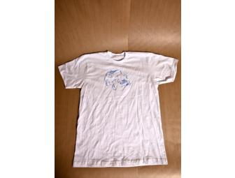 M Ward, signed and decorated, one-of-a-kind t-shirt