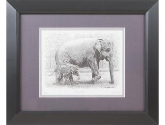 Asian Elephant Mom and Baby Print