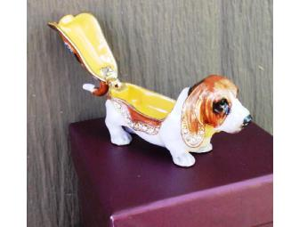 Jeweled Enamel Basset Trinket Box