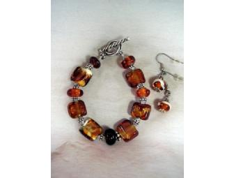 Amber Sparkle Bracelet & Matching Earrings Artisan Jewelry Set
