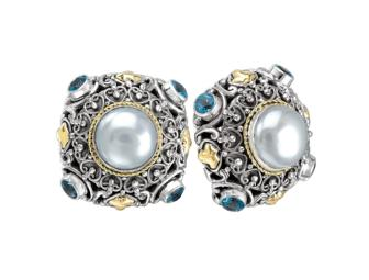 18k Pearl & Blue Topaz Earrings