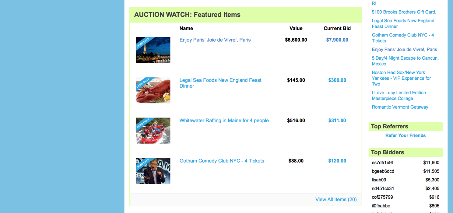 Auction Homepage Featured Items