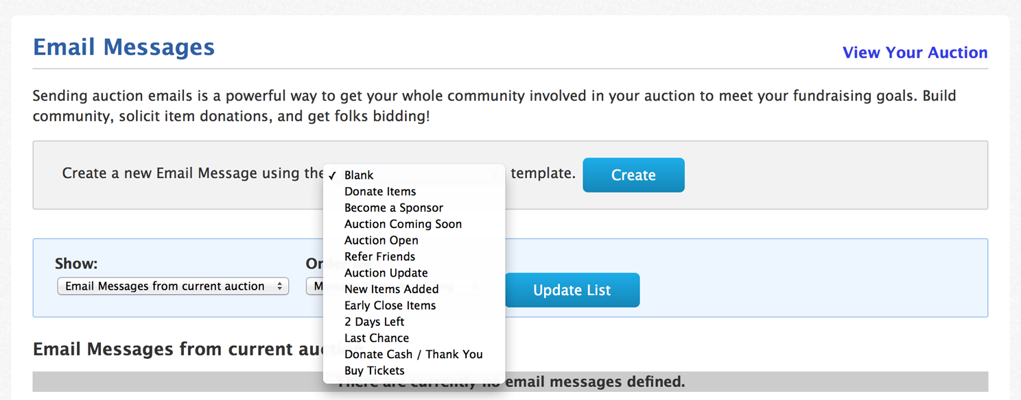 Auction Manager Email Messages