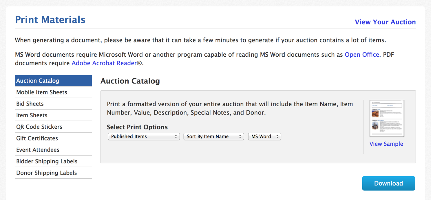 Auction Manager Print Materials