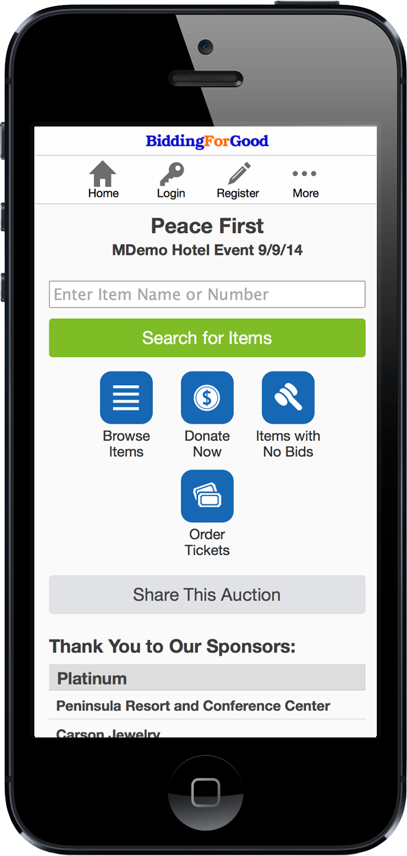 Mobile Auction Homepage