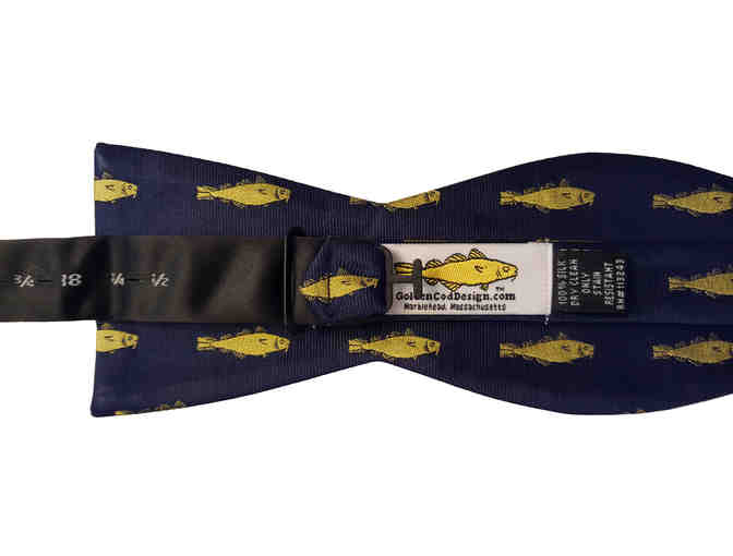 Golden Cod Design silk bow tie featuring Golden Cod Logo