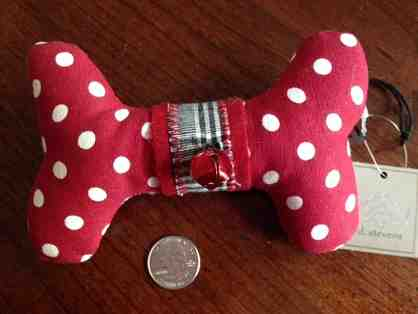 Red Polka Dot Stuffed Bone Ornament
