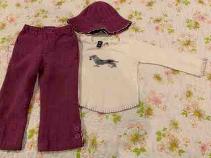 Girls - Size 2 Toddler purple dachshund outfit (top, pants and hat)