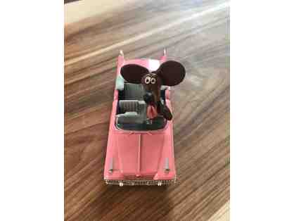 Adorable Handmade Dachshund Figurine in Pink Cadillac