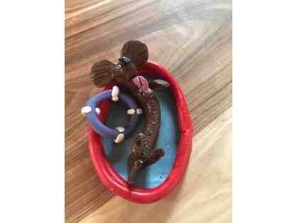 Adorable Handmade Dachshund Figurine in pool