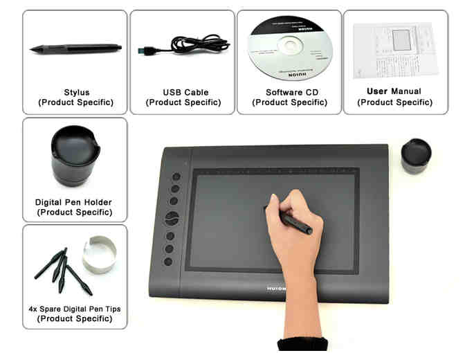 10x6.25' 2048 Levels Art Graphics Drawing Tablet Digital Tablets PRO Board Pad Grafica Tab