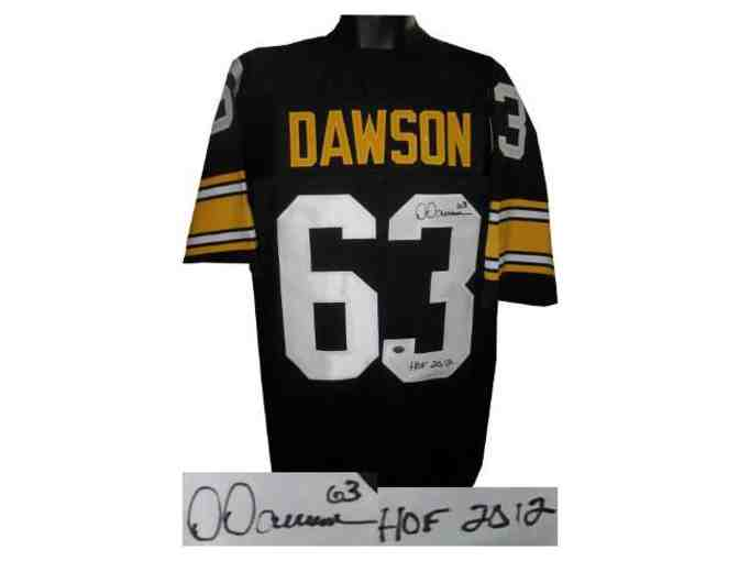 Dermontti Dawson signed Pittsburgh Steelers TB Black Prostyle Jersey #63 HOF 2012