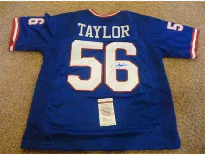 LAWRENCE TAYLOR SIGNED AUTO NEW YORK GIANTS BLUE JERSEY JSA AUTOGRAPHED