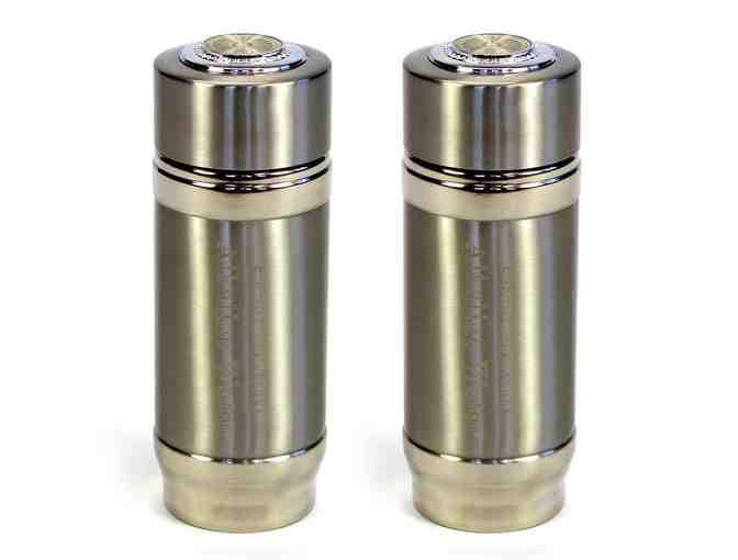 2 Silver Alkaline Energy Flask Ionizer Water Bottles with Cases - Photo 1