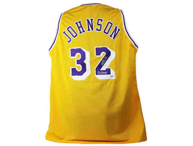 Magic Johnson Signed Lakers Jersey Includes a letter of authenticity