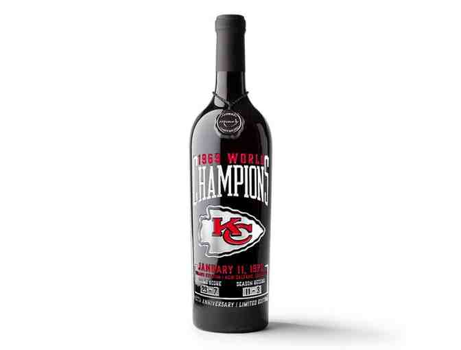 KC Chiefs 1969 Champions Etched Wine - Photo 1