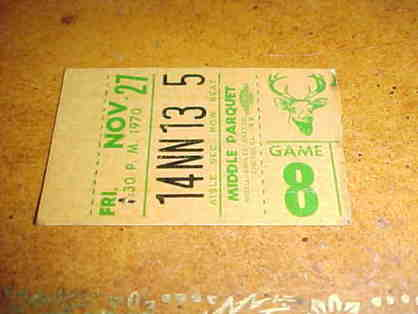 1970 New York Knicks v Milwaukee Bucks Ticket