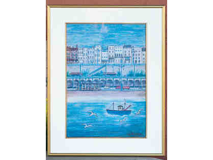 Brighton, Sussex, England Print of a Watercolor by S. J. Veateo (sp?) - Framed