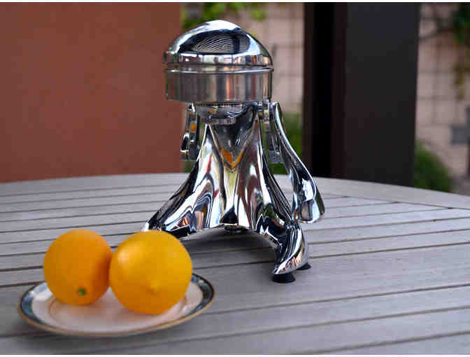 Vintage Art Deco Chrome/Cast Metal Manual Countertop Juicer