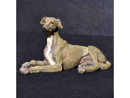 Greyhound/Whippet - Reclining/Crossed Paws - Cast and Painted Resin Sculpture/Statue