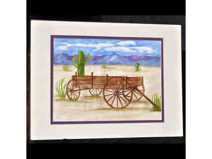 Watercolor - Southwest Scene/Wagon - Matted/Unframed by Marlene Koch