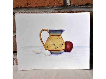 Watercolor - Pitcher, Eggs, and Apple - Original by Marlene Koch