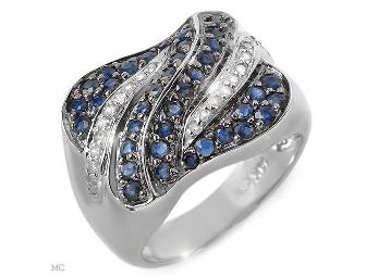 1 AWESOME GIFT!: ALLURING  COUTURE BLUE SAPPHIRE AND DIAMOND RING!!! - Photo 1