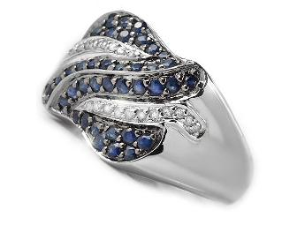 1 AWESOME GIFT!: ALLURING  COUTURE BLUE SAPPHIRE AND DIAMOND RING!!! - Photo 2