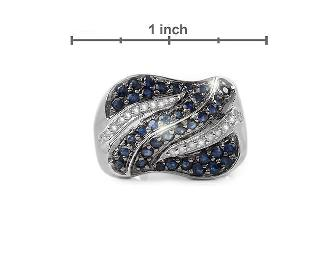 1 AWESOME GIFT!: ALLURING  COUTURE BLUE SAPPHIRE AND DIAMOND RING!!! - Photo 3