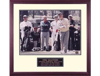 "Jack Nicklaus ""1996 Masters with Tiger & Arnie"" Hand Signed 28x28 Framed Pho - Photo 1"