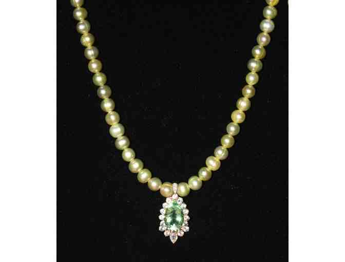 1 BEAUTIFUL RARE FLOURITE/DIAMOND ENHANCER W/PISTACHIO PEARLS AND MATCHING PEARL BRACELET!