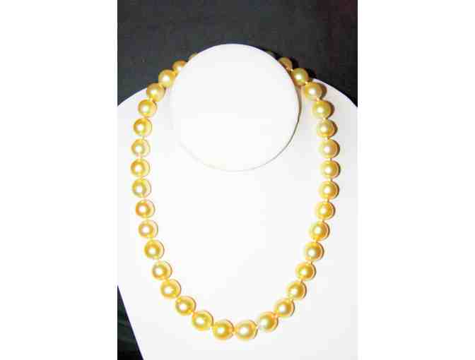1 GREAT GIFT! A MUST POSSESS!!! GOLDEN SOUTH SEA PEARLS! 10-12 mm w/Diamond Clasp!