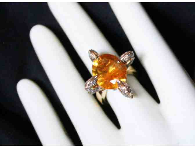1:A BEAUTIFUL ULTRA COUTURE RING! QUANTUM CUT DEEP COLOR CITRINE AND CHOCOATE DIAMONDS!