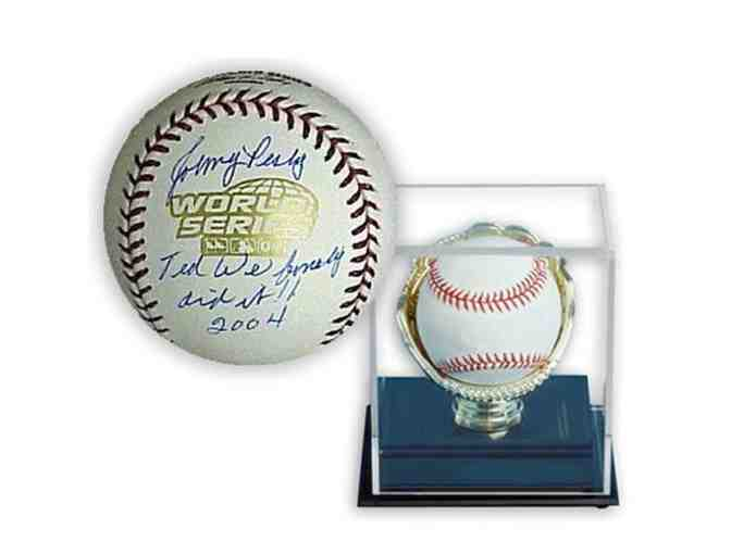 Johnny Pesky Hand-Signed Baseball 'Ted, We Did It!' With Gold Glove Display Case