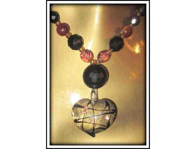 *A HEART OF GOLD:  1/KIND GEMSTONE NECKLACE!