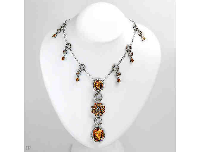 ' 1 ONLY!':COUTURE DIAMOND AND CITRINE NECKLACE! Independent Appraisal !  Value $11,390.00