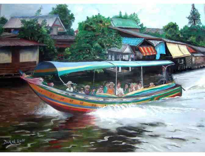 'Long Tail Boats On Canals of Bangkok' by Artist Derek Rutt