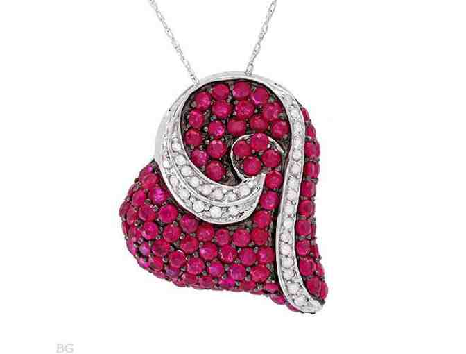 ' 1 ONLY!': COUTURE RUBY DIAMOND HEART PENDANT!! Pristine and RARE BURMESE Rubies!!