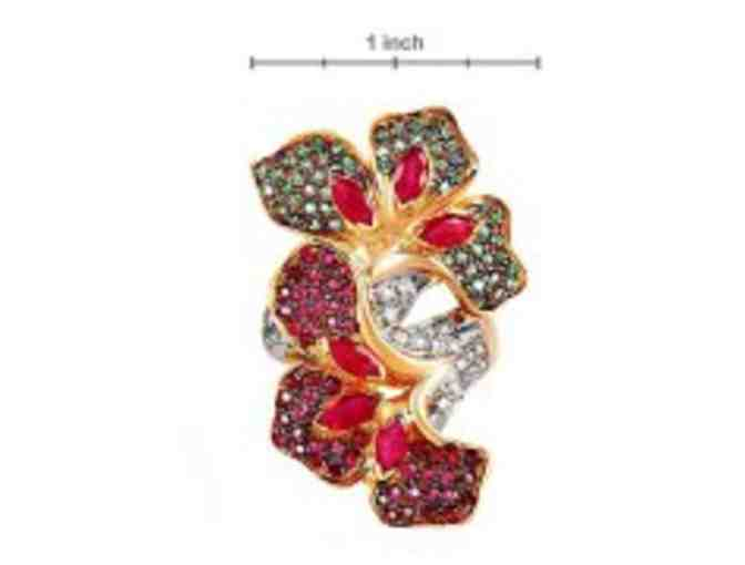 ' 1 ONLY'GENUINE BURMESE RUBIES,  RARE EXOTIC TSAVORITE GARNETS, DIAMONDS , IN 18 KT GOLD!